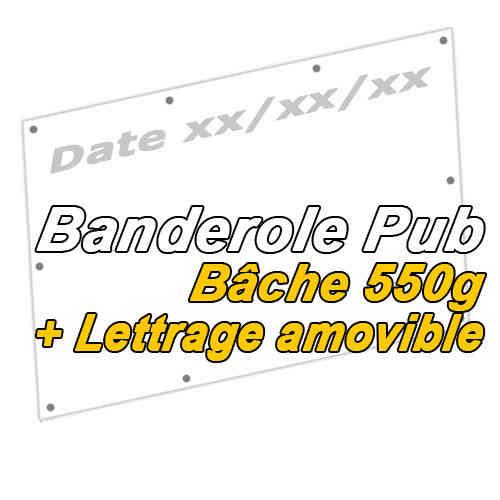 BANDEROLE PUB EVENEMENTIELLE AVEC DATE AMOVIBLE
