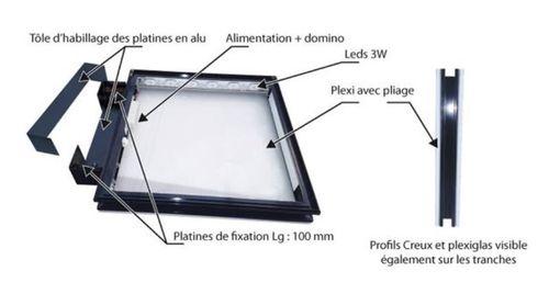 LED Caisson Lumineux 700 X 700 MM Double-Face Enseigne Eclairée Publicité